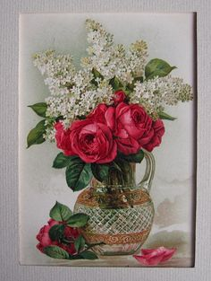 Paul de Longpre Roses and Lilacs Print c1890s Buy now at Victorian Rose Prints on rubylane.com
