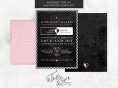 Modern Type & Chalkboard Invitation by Two if by Sea Studios on Creative Market