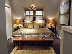 I love how it this room is designed for a small master bedroom!