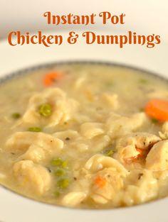 Instant Pot Chicken And Dumplings Recipe #Recipe #InstantPot #ChickenAndDumplings Instapot Chicken And Dumplings, Chicken And Dumplins, Crockpot Recipes, Soup Recipes, Chicken Recipes, Cooking Recipes, Cooking Games, Recipe Chicken, Gourmet