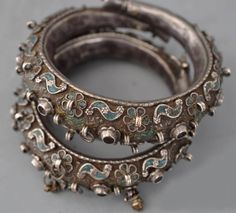 """""""ETHNIC JEWELLERY AND ADORNMENT"""" Silver bangles with enamelling worn by Jewish women (and made by Jewish smiths) in Yemen. Not frequent."""