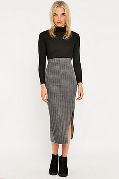 Sparkle & Fade Sporty Ribbed Midi Skirt