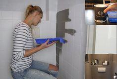 Tegelverf Badkamer Zwart : Tegels geverfd met tegelverf. muur met krijtverf. wat een verschil