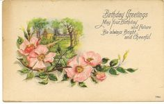 Vintage Birthday Postcard with Wild Roses by SistersOfSerendipity, $5.00
