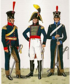 (Left) Officer of the 5th Cavalry Regiment, 1811-1815.(Center) Staff Officer toGarrison Govenor1806-15.( Right) Soldier of the 10th Cavalry. 1810-15