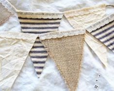 French Country Cottage Burlap Lace Ticking Flag Banner Bunting Wedding Baby Christmas Provencal Farmhouse Shabby Chic Home Decor Blue Ecru