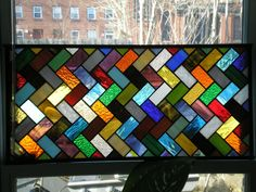 Herringbone Pattern Stained Glass Window