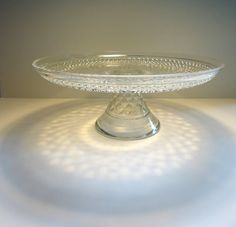 Vintage Cake Stand with Etched Diamond Pattern