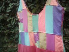 Patchwork dress made with recycled fabrics by Trueno Dorado