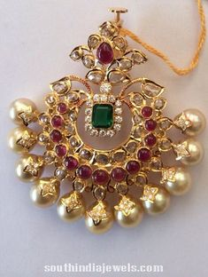 Stunning South sea pearl pendant studded with precious polki stones, rubies and emeralds Jewelry Design Earrings, Gold Earrings Designs, Gold Jewellery Design, Necklace Designs, Pendant Jewelry, Gold Designs, Silver Jewellery, Gold Pendent, Pearl Pendant