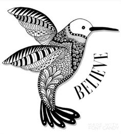 Black & White Bird painting