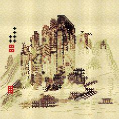 옥순봉도 (Oksun Peaks) Korean artist - 김홍도 Pixel art by joojaebum