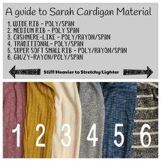Different materials that the LuLaRoe Sarah Cardigan comes in  www.facebook.com/groups/LuLaRoebyElliK/