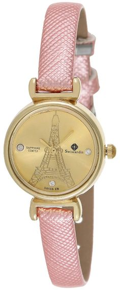 Swiscardin Women's Gold Dial Leather Band Watch - 11430AW-L price, review and buy in UAE, Dubai, Abu Dhabi | Souq.com