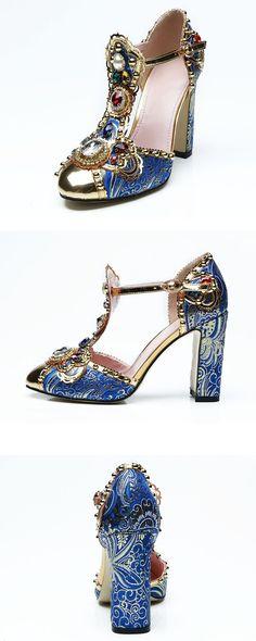 db3981afb41b Sandals Rhinestone Round Toe Chunky Heel Women s Shoes. Fashion Heels ...