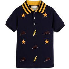 Gucci - Boys Blue Cotton Embroidered Polo Shirt | Childrensalon