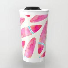 Pink Rice Travel Mug #art #pink #abstract #design #pattern #watercolor #fun #rice #surf #travel #travelmug