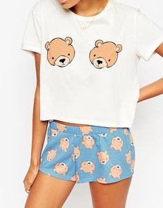ASOS Teddy Bear Boobs Tee   Short Pyjama Set at asos.com 5f1a9b911b2