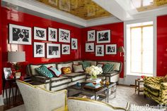 A Small Manhattan Apartment With Surprising, Vibrant Colors. Luscious hues and gleaming surfaces turn a square feet city apartment into an alluring jewel box. Designer Philip Gorrivan created a small colorful apartment with an exotic personality. Beautiful Living Rooms, Beautiful Homes, House Beautiful, Small Apartments, Small Spaces, Colorful Apartment, Manhattan Apartment, Palette, Thing 1