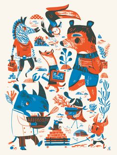 two color poster for WeMake's special screenprinted poster series by Meg Hunt