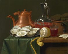 A Still Life with Oysters, a Lemon, a Carafe of Wine and a Copper Jug – Peter Jacob Horemans 1769.