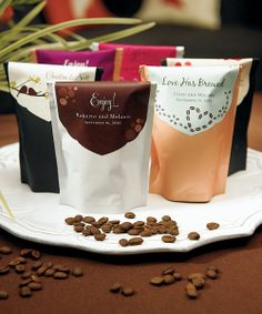 Coffee!  I love this idea and this packaging for a wedding favor.