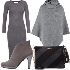 Un outfit, dove predomina il grigio, in tutti i suoi toni, molto casual per il vestito aderente a costine, e sexy per la schiena scoperta, poncho fantasia melange con collo alto, stivaletti con plateau grey, borsa a tracolla black, il tutto a prezzi eccezionali!