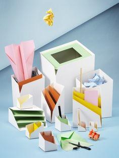 Kopiad desk accessories - Design by: Note Design Studio. Made by: Boxit Design Note Design Studio, Notes Design, Desktop Accessories, Office Accessories, Origami, Desk Essentials, Old Letters, Co Working, Pretty Designs