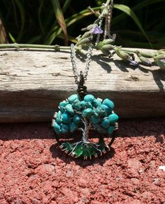 Turquoise Tree Of Life Necklace Aventurine Roots by Just4FunDesign