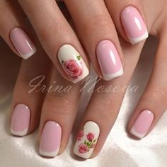 Pink and cream rose nail art design. The combination of pink and cream can never go wrong. This helps make the nails look very charming and cute and not only that, but it also goes well with rose designs. Rose Nail Art, Rose Nails, Flower Nails, Gel Nails, Spring Nail Art, Spring Nails, Gorgeous Nails, Pretty Nails, Valentine Nail Art