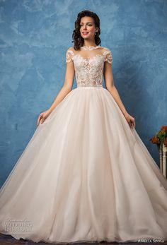 amelia sposa 2017 bridal lace short sleeves sheer bateau sweetheart neckline heavily embellished bodice romantic princess ball gown wedding dress lace back royal train (regina) mv