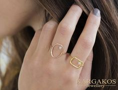 #diamond Open Rings #stack #statement created for an eye catching appearance. Woman Real Diamond Gold Ring... Brought to life with flat and curved #jewellery shapes to express endless forms. #fine #geometric #opencircle #opensquare #openoval #kargakos #designer #athens #greece #jewelrymaker #goldsmith #fine #luxury #boutique #athens #syntagma #etsyfinds #forsale #shopping #favorite #trending
