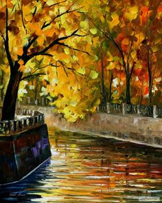 AUTUMN+CANAL+—+PALETTE+KNIFE+Oil+Painting+On+Canvas+By+Leonid+Afremov