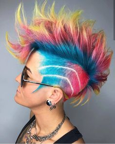 popping with color 🌈 Hair Dye Colors, Cool Hair Color, Punk Hair Color, Hair Mascara, Pulp Riot Hair Color, Temporary Hair Color, Extreme Hair, Hair Tattoos, Shaved Hair