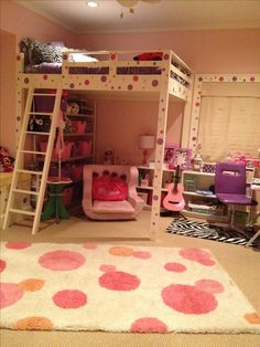 Tween Bedroom with New Queen Size LOFT bed that my husband built for our daughter. She is so excited!