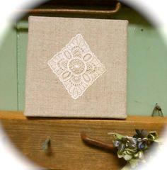 Lace フランスアンティークレース小さい正方形ファブリックパネル インテリア 雑貨 家具 Antique ¥450yen 〆05月14日