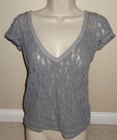 Abercrombie & Fitch Cap Sleeve Gray Lace Top Shirt Blouse V-Neck Sz Small - SB #AbercrombieFitch #KnitTop