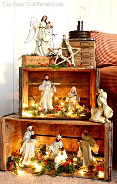 Such A Pretty Way To Display A Nativity. Or then again A Christmas Village Wood Crates. I Like The Idea Of Stacking These To Make A Pseudo Bookshelf For A Rustic Christmas Display, And I Love The Lights Inside, Everything Looks Better Lit Up Noel Christmas, Merry Little Christmas, Country Christmas, All Things Christmas, Winter Christmas, Vintage Christmas, Christmas Displays, Christmas Nativity Scene, Christmas Vacation