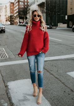 346de53685b3e Cute Cozy red Sweaters Knit Pullover Womens Cable sweaters spring   summer  classy trendy sweaters outfits for teens for school for women