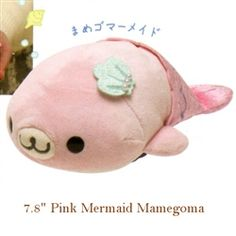 "San-X Mamegoma Little Seals Sailor 7.8"" Plush: Pink Mamegoma Mermaid"