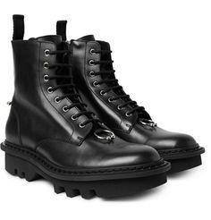 Neil Barrett Pierced Punk Embellished Leather Boots