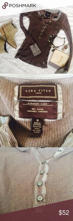 Ezra Fitch Mushroom Henley! Ezra Fitch Mushroom Henley! Buttons down the top and collar/sleeve detail are heather gray. Gorgeous mushroom color. Thin, soft material! Great condition but there is some minor piling (see last photo). Other items in cover photo not for sale! Abercrombie & Fitch Tops Tees - Long Sleeve