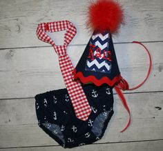 Chevron Anchor Red White and Blue Boys Birthday by bebeboutiques