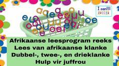 Ek kan - Ek leer my afrikaanse klanke lees (dubbel-, twee-, en drieklank... Afrikaans, True Words, Activities For Kids, The Creator, Writing, Learning, Homework, Diys, Youtube