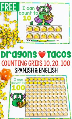 Free printable taco mini eraser preschool counting grids for Dragons Love Tacos! Count to 10 with taco mini erasers or count to 20 or 100 with this low-prep counting activity for preschoolers. English and Spanish counting grids are included for free! Counting Activities For Preschoolers, Kindergarten Math Activities, Hands On Activities, Learning Activities, Preschool Activities, Literacy, Free Preschool, Preschool Learning, Math Resources