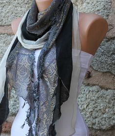 Silvery Shawl Scarf  Headband Necklace Cowl  Gray  by fatwoman, $19.90  i'm a scarf fanatic!