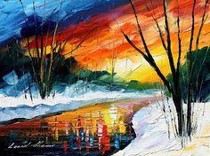 Winter Stream - By Leonid Afremov