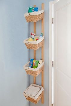 I am stealing this idea. I have a small laundry room and I think the basket hanging is a gread idea.
