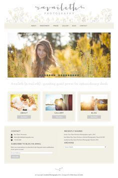 Beautiful website design for photographer. Using Geraldine WordPress Theme from Bluchic. Visit availethphotography.com