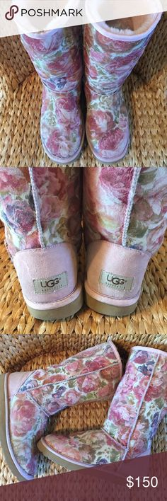 Previously worn Ugg Pink Floral Boots Size 8M These Uggs have been worn and loved and are ready to move to their new forever home. Selling for a friend who no longer needs this pair. Please know these will not come with an Ugg box but are 100% authentic. Pink Shearling lining. Could use a new pair of footbed inserts available at most shoe repair stores or Nordstrom online. Priced accordingly...🌸 UGG Shoes